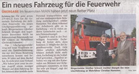 Zeitungsartikel Feuerwehr Escheburg
